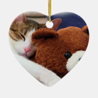 Sleepy Cat Teddy Bear Ceramic Ornament
