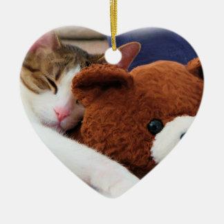 Sleepy Cat Teddy Bear Ceramic Heart Ornament