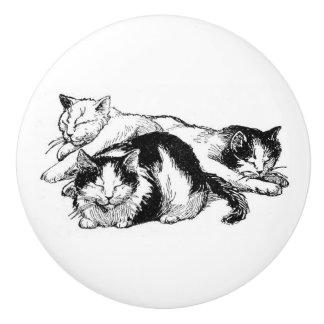 Sleepy Cats | black and white kitties Ceramic Knob