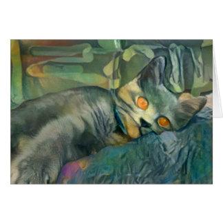 Sleepy Chartreux Card