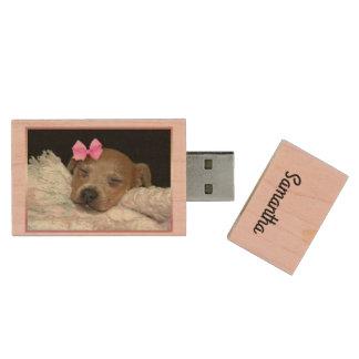 Sleepy chihuahua dog personalized flash drive wood USB 3.0 flash drive