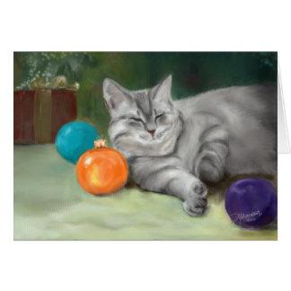 Sleepy Christmas Cat Greeting Card