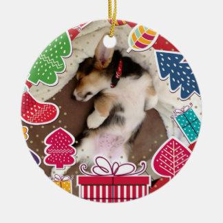 Sleepy Christmas Corgi Puppy Ceramic Ornament
