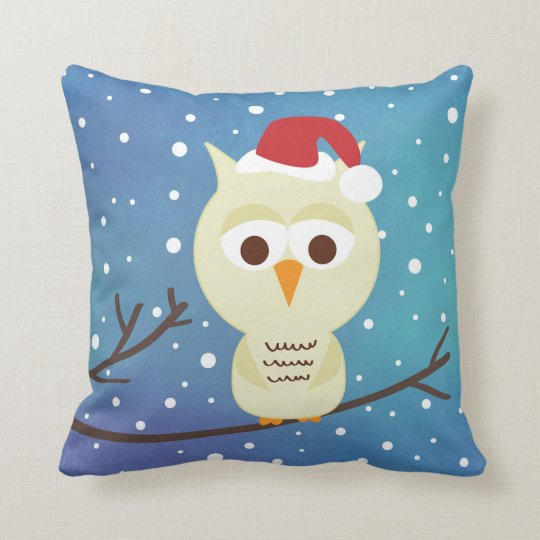 Sleepy Christmas Owl Holiday Decorative Pillow