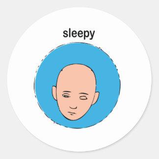 sleepy classic round sticker