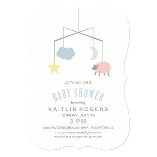 Sleepy Crib Mobile Baby Shower Invitation