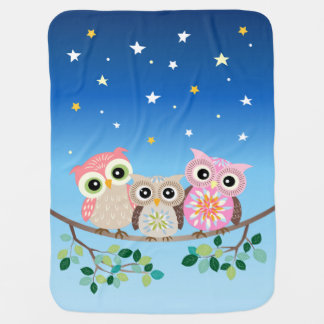 Sleepy Cute 3 Owls Baby Blanket