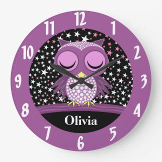 sleepy cute owl wall clocks