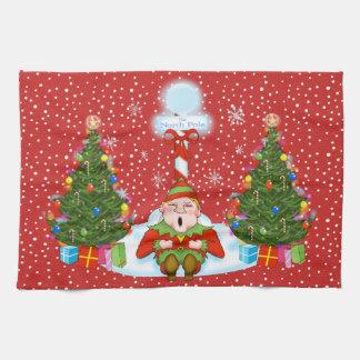 Sleepy Elf Christmas Kitchen Towel
