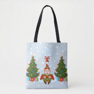 Sleepy Elf Under North Pole Holiday Tote Bag