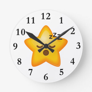 Sleepy Emoji Star Round Clock