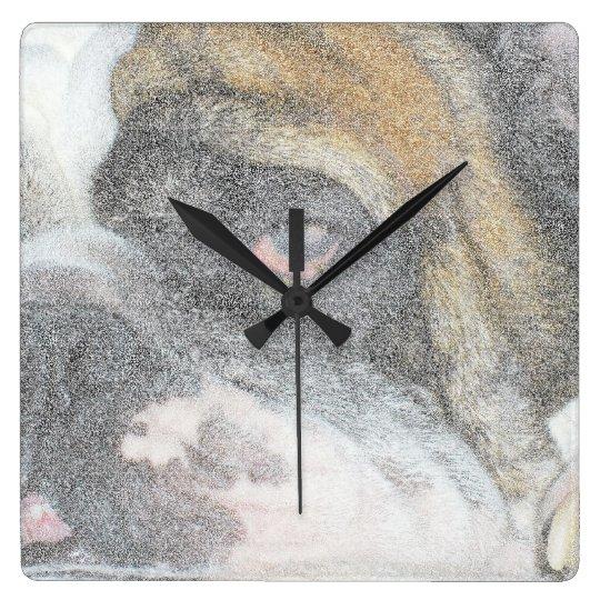 Sleepy English Bulldog wall clock