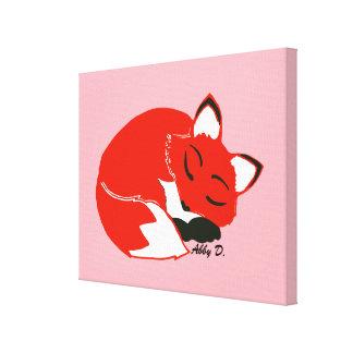 "Sleepy Fox 14"" x 11"" Wrapped Canvas Print"