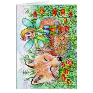 Sleepy Fox and Fairy Card