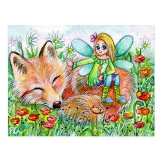 Sleepy Fox and Fairy Postcard