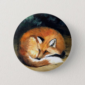 """Sleepy Fox"" Animal art Button"