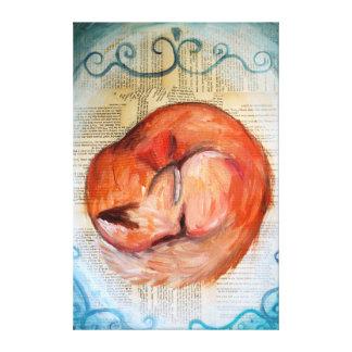 Sleepy Fox Canvas Canvas Print