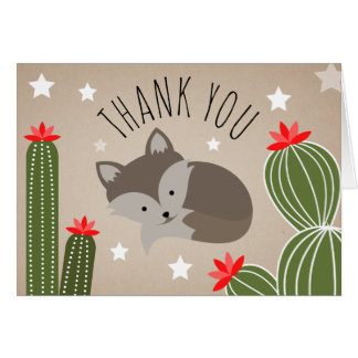 Sleepy Fox Desert Cactus Thank You Stars Card