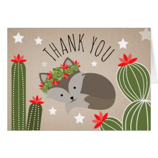 Sleepy Fox Desert Cactus Thank You Stars Card