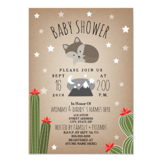 Sleepy Fox Desert  Mountains Baby Shower Card