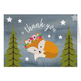 Sleepy Fox Floral Thank You Stars Watercolor Card