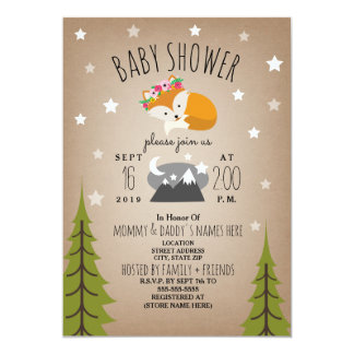 Sleepy Fox Mountains Girl Baby Shower Card