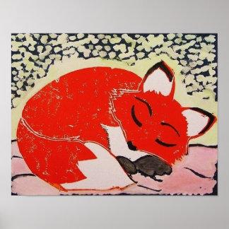 Sleepy Fox Poster, 14x11 Inches