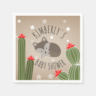 Sleepy Fox Stars Cactus Desert Baby Shower Paper Napkin