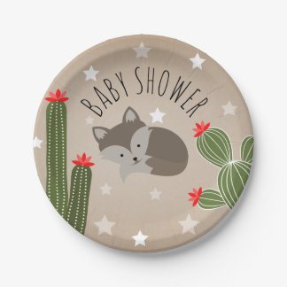 Sleepy Fox Stars + Cactus Desert Baby Shower Paper Plate