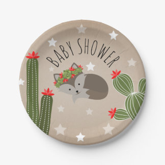 Sleepy Fox Stars + Cactus Floral Baby Shower Paper Plate