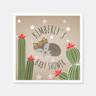 Sleepy Fox Stars Cactus Floral Desert Baby Shower Disposable Napkins