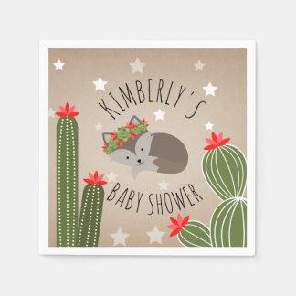 Sleepy Fox Stars Cactus Floral Desert Baby Shower Paper Napkin