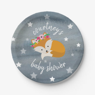 Sleepy Fox Stars floral Watercolor Baby Shower Paper Plate