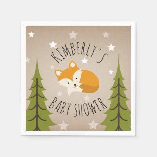 Sleepy Fox Stars + Trees Baby Shower Napkin