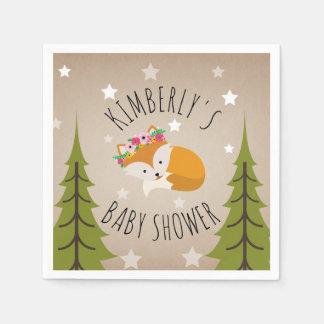 Sleepy Fox Stars + Trees Floral Baby Shower Paper Napkins