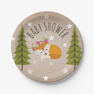 Sleepy Fox Stars + Trees Floral Baby Shower Paper Plate