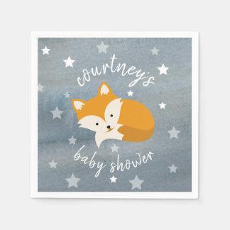 Sleepy Fox Stars + Watercolor Baby Shower Disposable Napkin