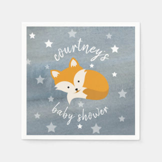 Sleepy Fox Stars + Watercolor Baby Shower Napkin