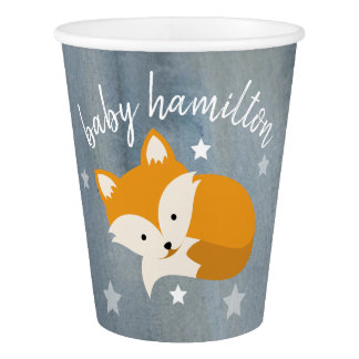 Sleepy Fox Stars Watercolor Baby Shower Paper Cup