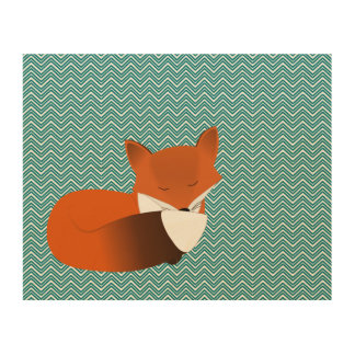 Sleepy Fox & Teal Chevron Background Wood Prints
