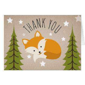 Sleepy Fox Thank You Stars Card