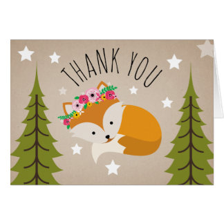 Sleepy Fox Thank You Stars Card