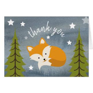 Sleepy Fox Thank You Stars Watercolor Card