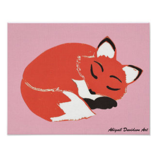 """Sleepy Fox with Pink Poster, 14"""" x 11"""""""