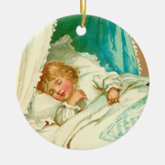 Sleepy girl ceramic ornament