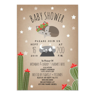 Sleepy Girl Fox Desert  Mountains Baby Shower Card