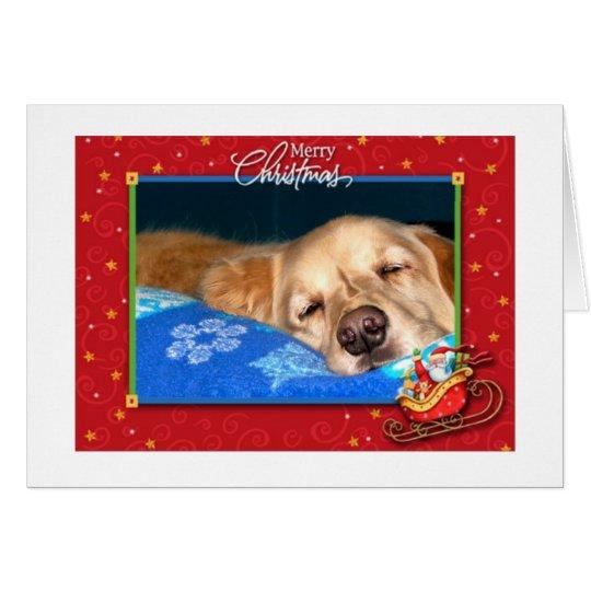 Sleepy Golden Retriever Holiday Greeting Card