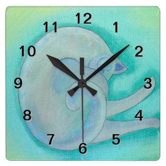 Sleepy Gray Cat. Clocks