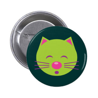 Sleepy Green Cat Pinback Buttons