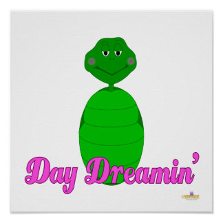Sleepy Green Turtle Day Dreamin' Pink Posters